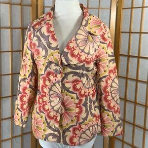 Anthropologie Fei pink floral corduroy blazer
